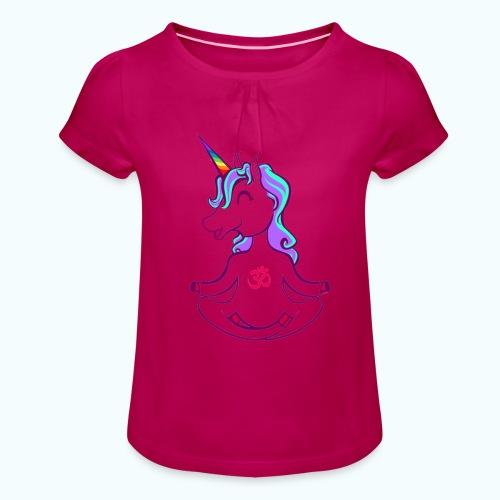 Unicorn meditation - Girl's T-Shirt with Ruffles