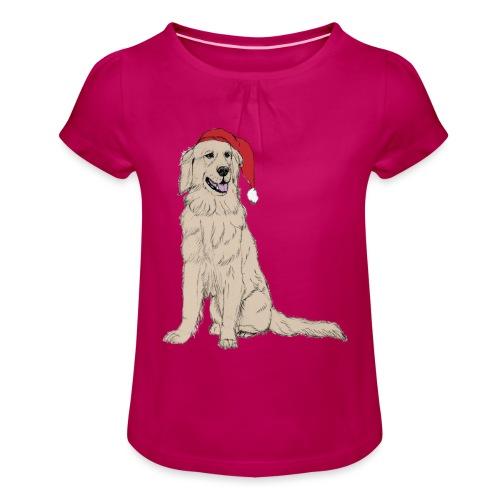 Golden Retriever Christmas - Pige T-shirt med flæser