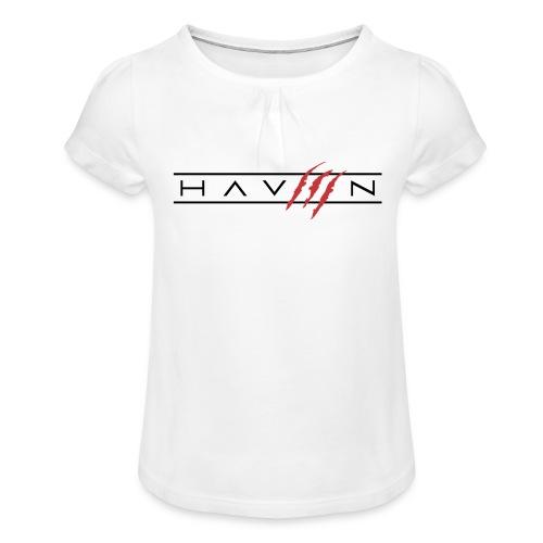 Logo Zwart - Meisjes-T-shirt met plooien