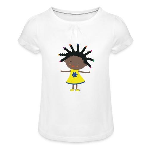 Happy Meitlis - Afrika - Mädchen-T-Shirt mit Raffungen