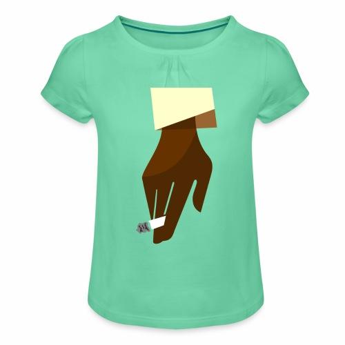Hand mit Kippe - Mädchen-T-Shirt mit Raffungen