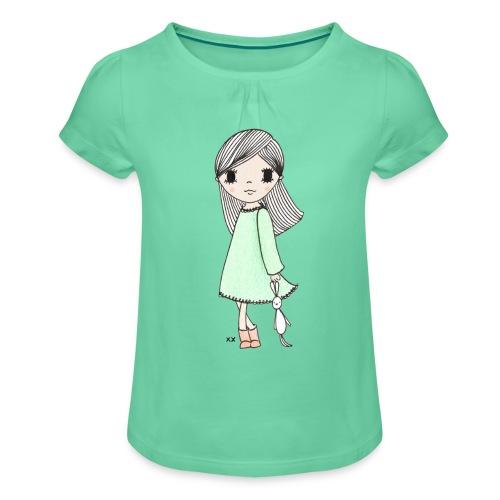 meisje met knuffel - Meisjes-T-shirt met plooien