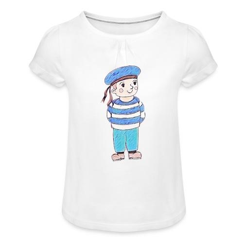 Matrosenjunge - Mädchen-T-Shirt mit Raffungen