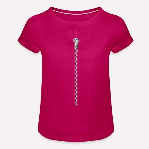 Zipper Funny Surprising T-shirt, Hoodie,Cap Print - Girl's T-Shirt with Ruffles