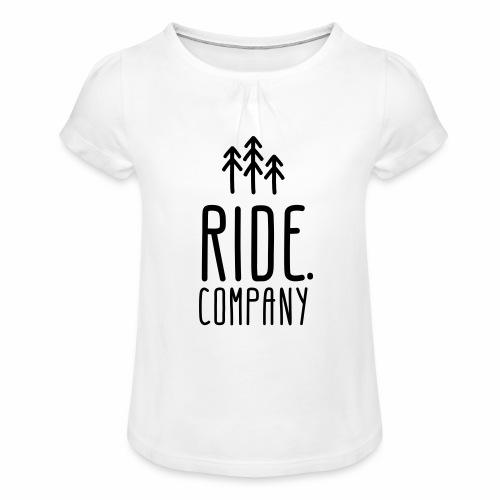 RIDE.company Logo - Mädchen-T-Shirt mit Raffungen