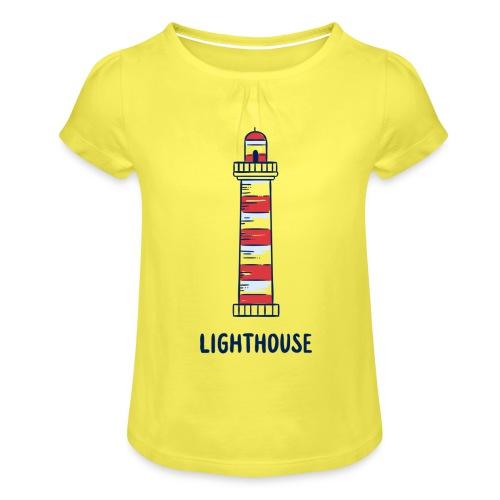 Lighthouse - Mädchen-T-Shirt mit Raffungen