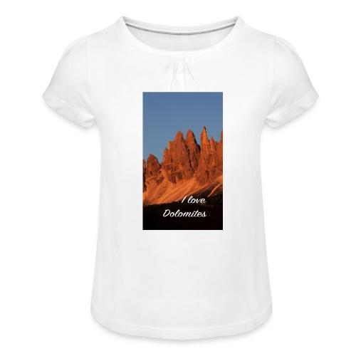 Abendglühen in König Laurins Rosengarten - Mädchen-T-Shirt mit Raffungen