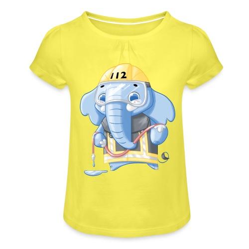Feuerwehr Elefant - Mädchen-T-Shirt mit Raffungen