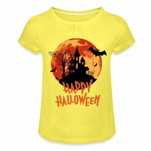 Bloodmoon Haunted House Halloween Design - Mädchen-T-Shirt mit Raffungen