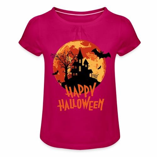 Bloodmoon Haunted House Halloween Design - Mädchen-T-Shirt mit Raffungen