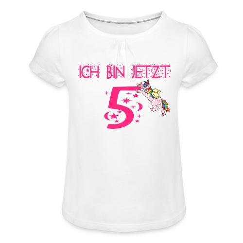 5 jahre 5ter Geburtstag Geschenk Geschenkidee - Mädchen-T-Shirt mit Raffungen
