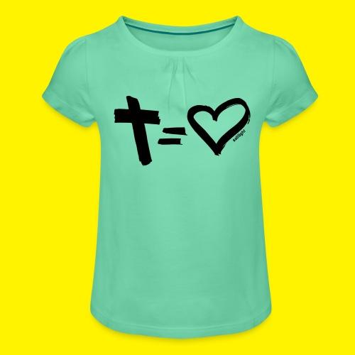 Cross = Heart BLACK - Girl's T-Shirt with Ruffles