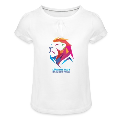 Löwenstadt Design 7 - Mädchen-T-Shirt mit Raffungen