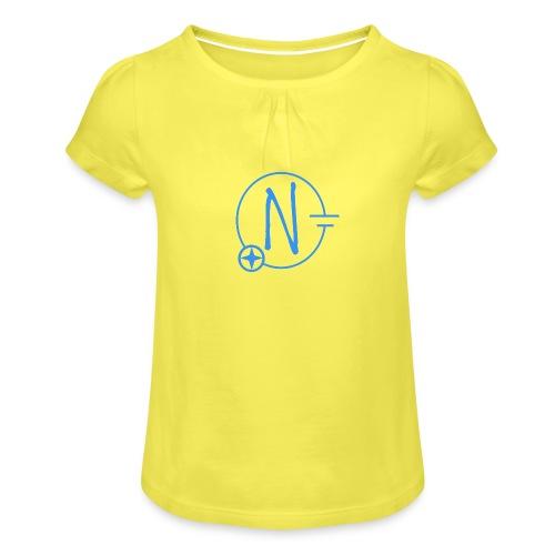 Logo1 blau - Mädchen-T-Shirt mit Raffungen