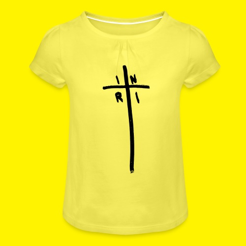 Cross - INRI (Jesus of Nazareth King of Jews) - Girl's T-Shirt with Ruffles