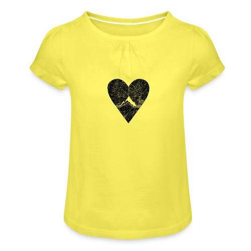 Bergliebe - used / vintage look - Mädchen-T-Shirt mit Raffungen