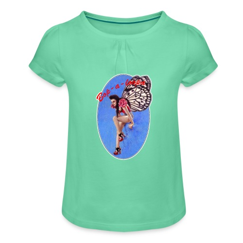 Vintage Rockabilly Butterfly Pin-up Design - Girl's T-Shirt with Ruffles