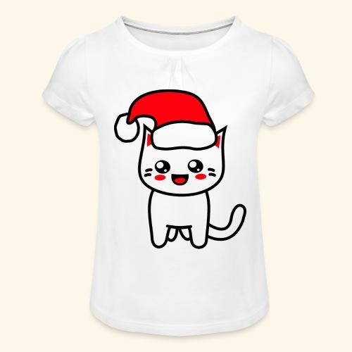 Kawaii Kitteh Christmashat - Mädchen-T-Shirt mit Raffungen