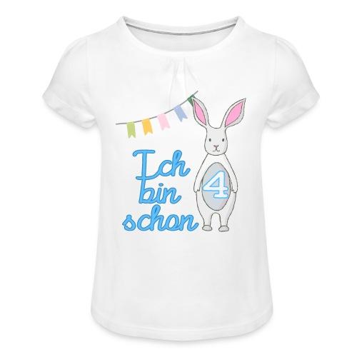 Ich bin schon 4 / Geschenk zum 4. Geburtstag. - Mädchen-T-Shirt mit Raffungen