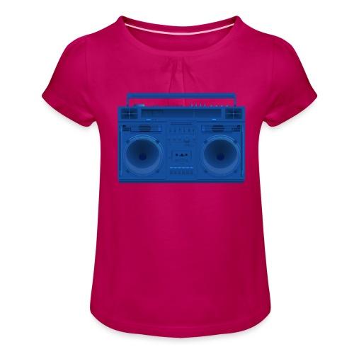 Bestes Stereo blau Design online - Mädchen-T-Shirt mit Raffungen