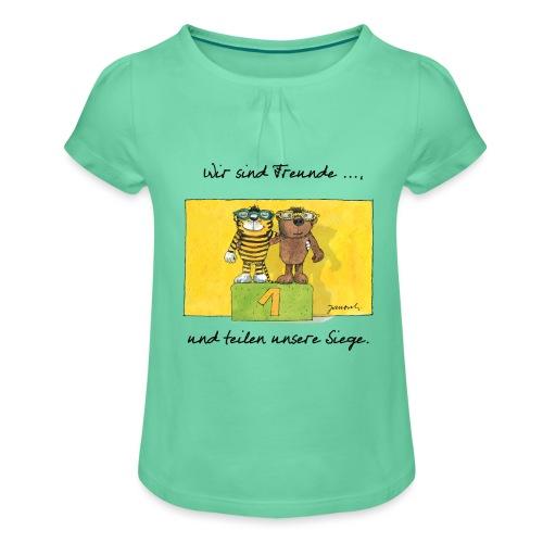 Janoschs 'Wir sind Freunde, und teilen ...' - Mädchen-T-Shirt mit Raffungen