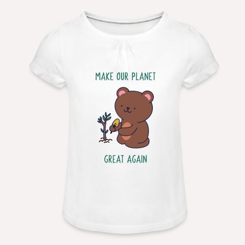 Caring About Climate Change? Trees T-Shirt Print - Girl's T-Shirt with Ruffles