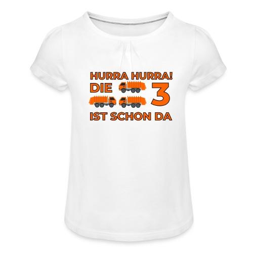 Trzecie urodziny śmieciarka - Koszulka dziewczęca z marszczeniami