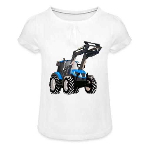Blauer Traktor mit Frontlader - Mädchen-T-Shirt mit Raffungen
