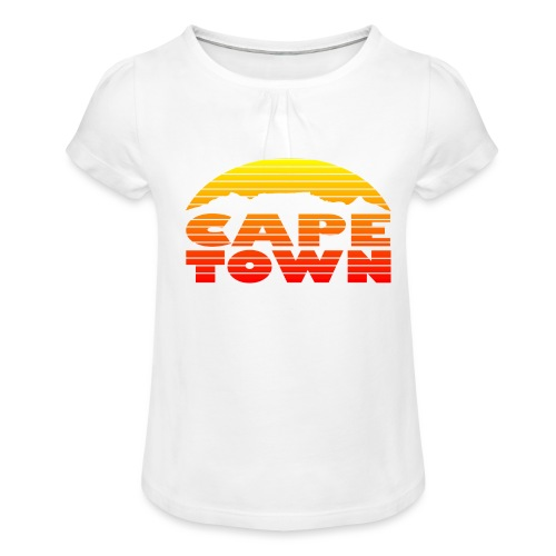 TableMountain-Sunset - Mädchen-T-Shirt mit Raffungen