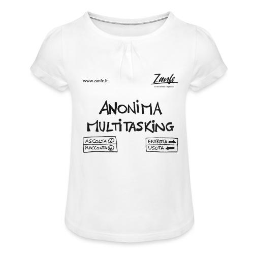Anonima Multitasking (Nero) - Maglietta da ragazza con arricciatura