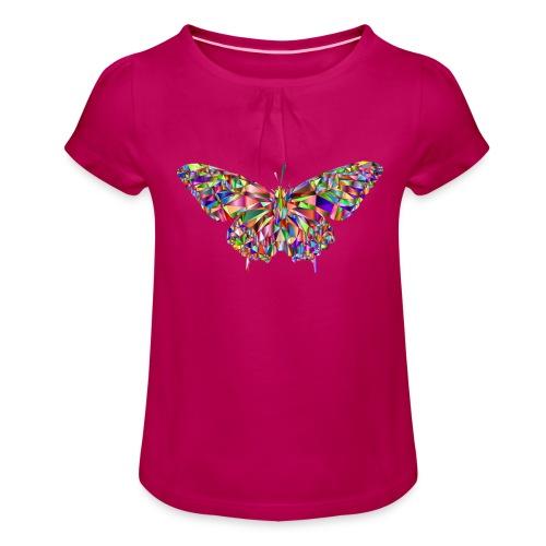 Geflogener Schmetterling - Mädchen-T-Shirt mit Raffungen