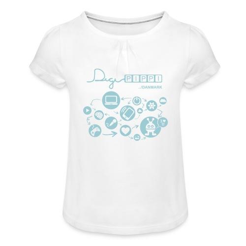 DigiPippi Danmark Blue - Pige T-shirt med flæser