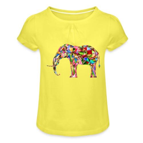 Gestandener Elefant - Mädchen-T-Shirt mit Raffungen