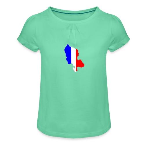 Carte Territoire de Belfort bleu blanc rouge - T-shirt à fronces au col Fille