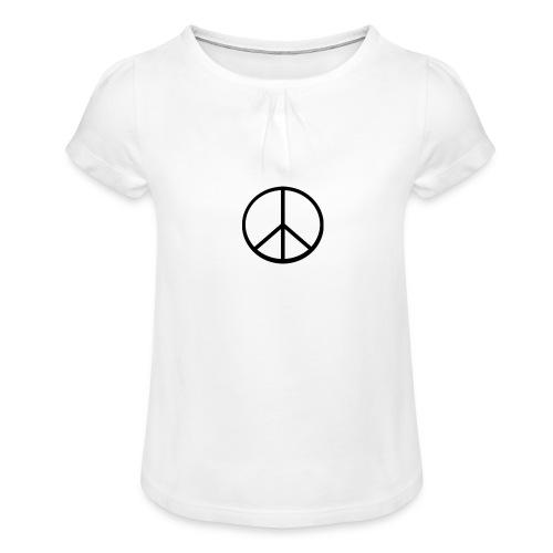 peace - T-shirt med rynkning flicka