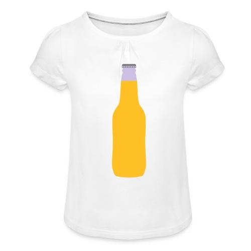 Bierflasche - Mädchen-T-Shirt mit Raffungen
