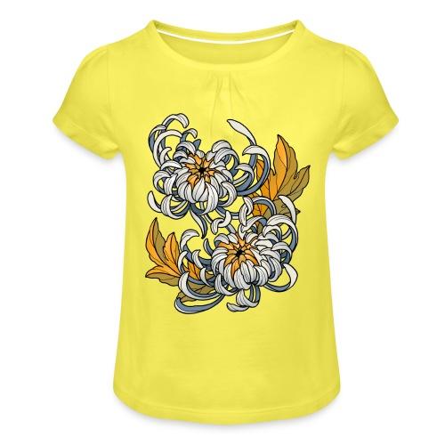 Chrysanthèmes enlacés - T-shirt à fronces au col Fille