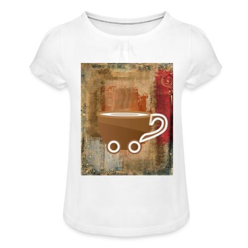 vintage coffee - Mädchen-T-Shirt mit Raffungen