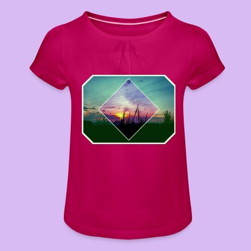 Tramonto in risalto tra figure geometriche - Maglietta da ragazza con arricciatura