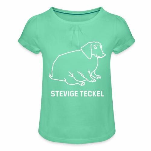 Stevige Teckel - Meisjes-T-shirt met plooien