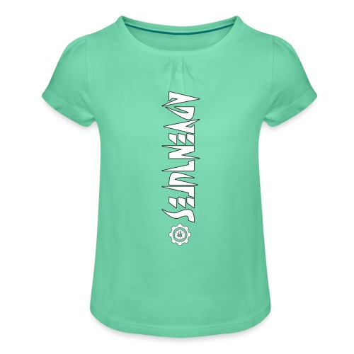 Jebus Adventures Vertical Stripe - Girl's T-Shirt with Ruffles