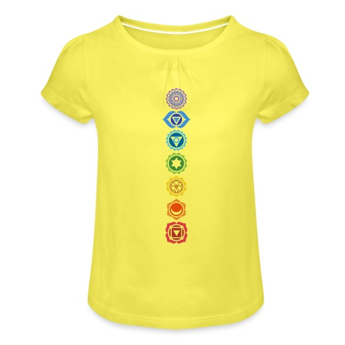 The 7 Chakras, Energy Centres Of The Body - Girl's T-Shirt with Ruffles
