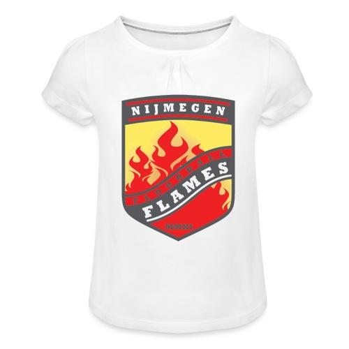 t shirt black - Meisjes-T-shirt met plooien