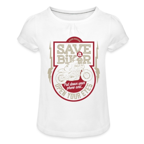 Save A Biker - Girl's T-Shirt with Ruffles