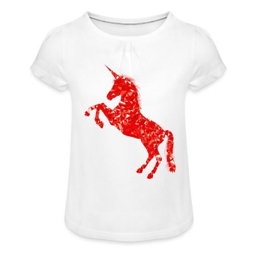 unicorn red - Koszulka dziewczęca z marszczeniami