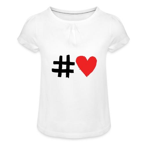 #Love - Pige T-shirt med flæser