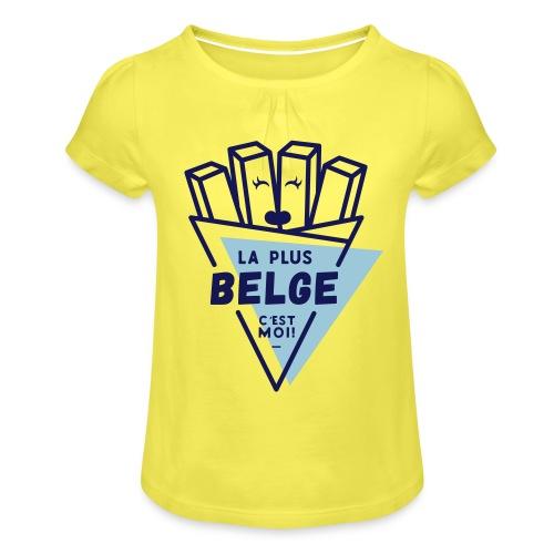 La+Belge - T-shirt à fronces au col Fille