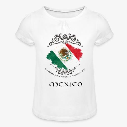 Mexico Vintage Bandera - Mädchen-T-Shirt mit Raffungen