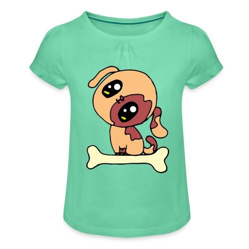 Kawaii le chien mignon - T-shirt à fronces au col Fille