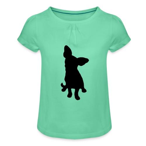 Chihuahua istuva musta - Tyttöjen t-paita, jossa rypytyksiä